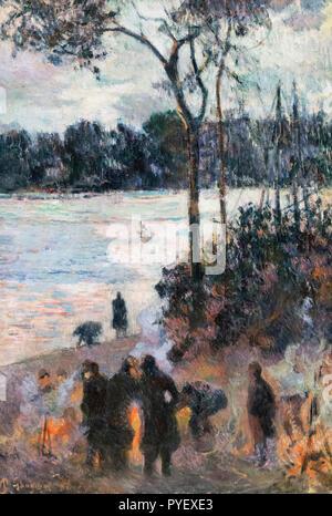 Das Feuer am Ufer von Paul Gauguin (1848-1903), Öl auf Leinwand, 1886 - Stockfoto