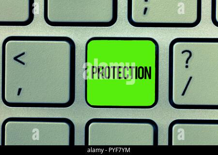 Handschrift Text schreiben. Konzept sinn Staat geschützt werden, Schaden von Verlust Gefahr gehalten Sicherheit geben. - Stockfoto