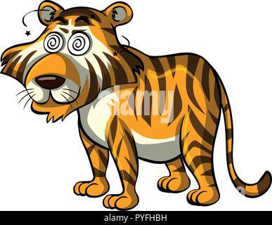 Wild Tiger mit Dizzy Augen Abbildung - Stockfoto