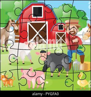 Puzzle Spiel mit Bauern und Tieren Abbildung - Stockfoto