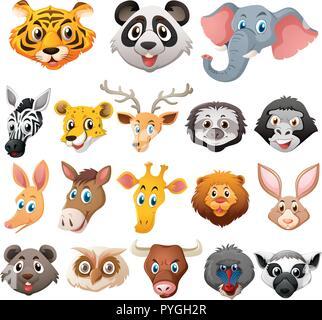 Verschiedene Gesichter von wilden Tieren Abbildung - Stockfoto