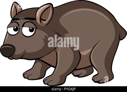 Braun wombat mit traurigem Gesicht Abbildung - Stockfoto
