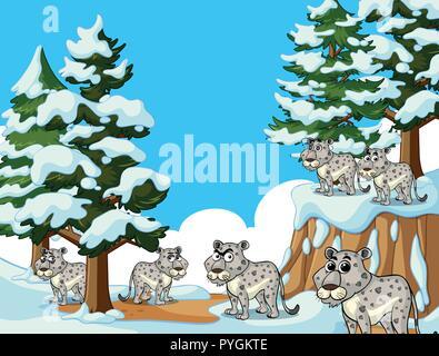 Viele Tiger in Snow Mountain Abbildung - Stockfoto