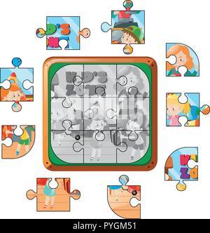 Puzzle Spiel mit Kindern spielen Abbildung - Stockfoto
