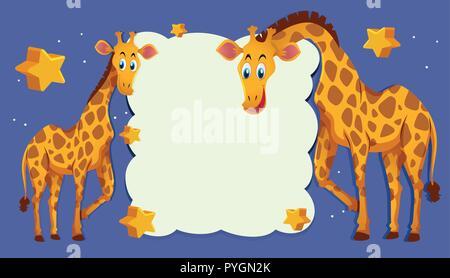 Grenze Vorlage mit zwei Giraffen in der Nacht Abbildung - Stockfoto