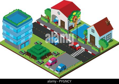 3D-Design für Dorf mit Gebäuden und Straßen Abbildung - Stockfoto