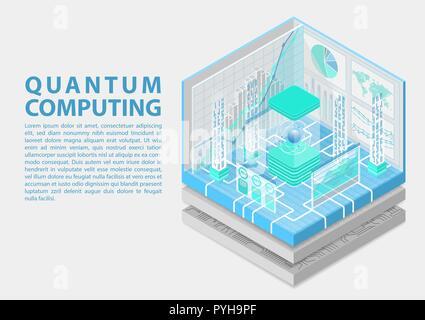 Quantum computing isometrische Vector Illustration. 3D-Ansicht auf konzeptionelle Quantencomputer - Stockfoto