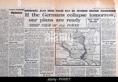 """Daily Express Karte von Polen Zeitung Zweiter Weltkrieg ZWEITEN WELTKRIEG', wenn die deutschen Zusammenbruch morgen unsere Pläne bereit sind """"28. Februar London England 1945 U - Stockfoto"""