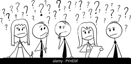 Cartoon der Gruppe der Geschäftsleute denken mit Fragezeichen um - Stockfoto