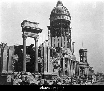 Rathaus von San Francisco nach dem Erdbeben von 1906 - Stockfoto