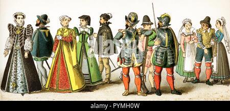 Die Zahlen sind hier vertreten alle Franzosen zwischen 1550 und 1600. Sie sind von links nach rechts: Katharina von Medici (gestorben 1589), einem Mann von Rang, zwei Frauen von Rang, ein Adeliger, ein musketier, ein Soldat, ein Offizier, drei Personen der unteren Klassen (a mariner und zwei Frauen); Elizabeth (auch Elisabeth von Valois, Tochter Heinrich II., der dritten Ehefrau von Philipp II. von Spanien), Henry II (gestorben 1559) links; Gefährtin von Karl IX., Karl IX. und Charles IX (gestorben 1574). Diese Abbildung stammt aus dem Jahre 1882. - Stockfoto
