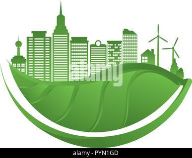 Grüne Stadt Gebäude ökologie Symbole Vector Illustration Design - Stockfoto