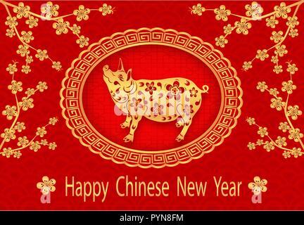 2019 Sternzeichen Schwein. Gruß Inschrift mit dem Chinesischen ...