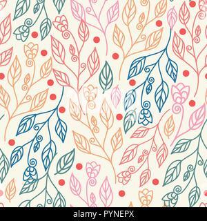 Schönen floralen nahtlose Muster mit Blätter und Blüten. Vector Illustration bunten Hintergrund für Tapeten, Beschaffenheit, Gewebe, Textilwaren, Oberfläche - Stockfoto