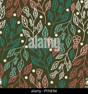 Florale nahtlose Muster mit Blättern und schönen Blumen. Vector Illustration in grüner Hintergrund für Tapeten, Beschaffenheit, Gewebe, Textilwaren, und suchspray - Stockfoto