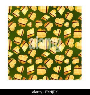 Glänzend golden Card passt Ikonen wie Herz, Karo, Pik und Clubs am grünen Tisch, nahtlose Muster - Stockfoto