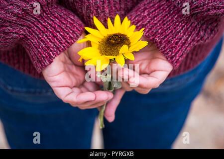 Mit vintage Tönen und Farben der Sonne Blume auf der Tasche auf der Rückseite der casual woman Jeans zurück schließen. Frieden und Liebe onceptual Bild für Hippie style und - Stockfoto