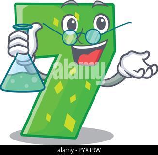 Professor Nummer sieben Schild an der Tür Cartoon - Stockfoto