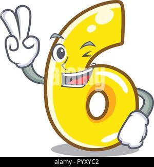Zwei Finger cartoon Nummer Sechs auf der Straße - Stockfoto