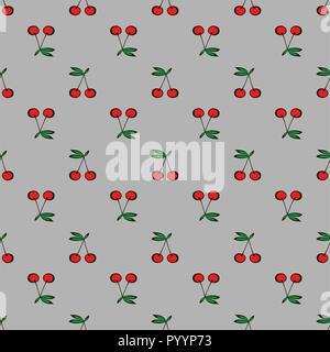Paar Kirschen nahtlose Muster grauer Hintergrund - Stockfoto