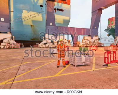 Dock worder unter Kran bei dockside, Sonnenuntergang und Sonnenaufgang lange Arbeitszeiten - Stockfoto