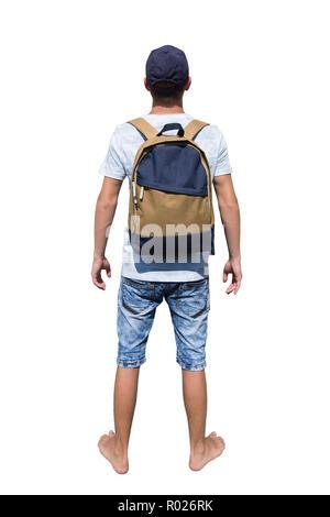 Hintere Ansicht in voller Länge Porträt eines neugierigen jungen Mann Reisender mit einem Rucksack und trug eine Kappe bereit für Abenteuer über weiße backgroun isoliert - Stockfoto