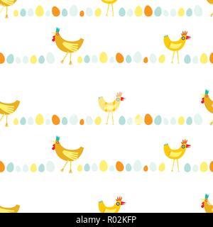 Bunte nahtlose Muster wiederholen von Gelb und Orange Hühner in horizontalen Linien auf weißem Hintergrund - Stockfoto