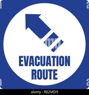 Hurricane Fluchtweg Schild Blue Square weißen Kreis - Stockfoto