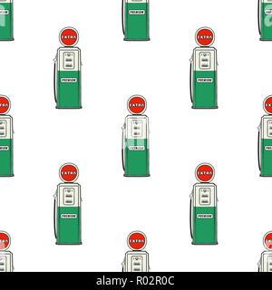 Tankstelle Pumpe nahtloses Design. Jahrgang Hand gezeichnet Öl station Muster. Lager auf weißem Hintergrund isoliert - Stockfoto