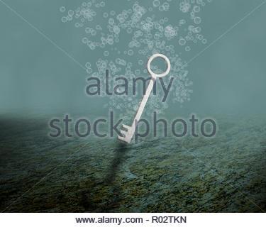 Das Scheitern von Unternehmen, problem Konzept, ertrinken weiße Taste im Wasser - Stockfoto