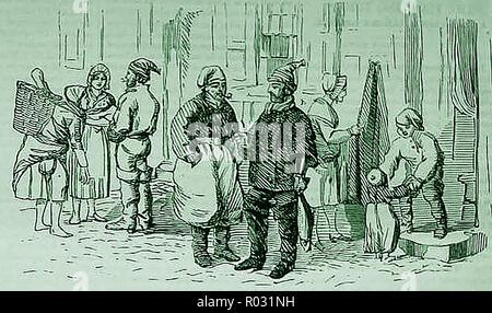 1859 - wie die Menschen in den französischen Fischereigemeinschaften gekleidet - Stockfoto