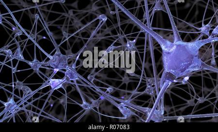3D-Rendering eines Netzes von Neuron Zellen und Synapsen, durch die elektrischen Impulse und Einleitungen Pass bei der Übertragung von Informationen in - Stockfoto
