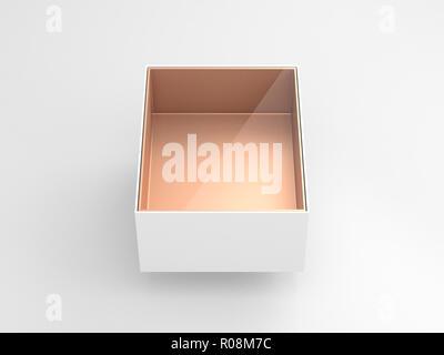 White Box blister Mockup mit transparentem Fenster und goldenen Karton in Light Studio, 3D-Rendering