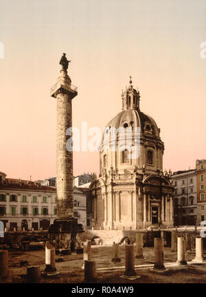 Die Trajan Säule, Rom, Italien, Photochrom Print, Detroit Publishing Company, 1900 - Stockfoto