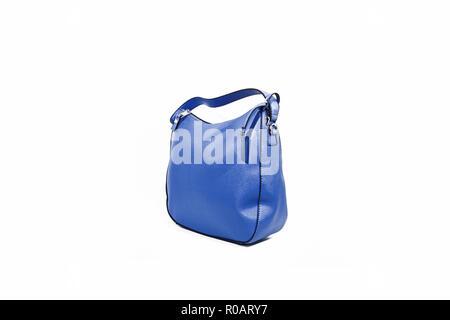 2fb3348dcd71c ... Leere blaue Damen Handtasche auf weißem Hintergrund. - Stockfoto