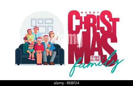 Die ganze Familie ist zusammen an Weihnachten. Großmutter, Großvater, Mutter, Vater, Sohn und Tochter zusammen. Plakat Design. Elemente sind 2-in-1-se - Stockfoto