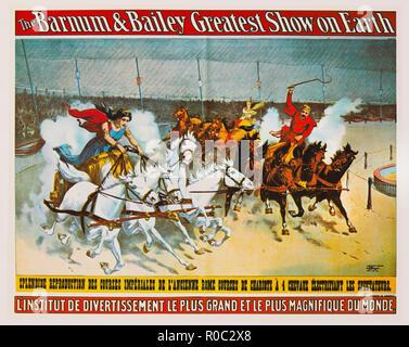 Das Barnum & Bailey größte Show auf der Erde, das antike Rom Wagenrennen, Französisch Circus Poster, Lithographie, 1896 - Stockfoto