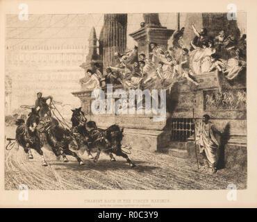 Wagenrennen im Circus Maximus, Gravur von der ursprünglichen Gemälde von A.Wagner, Platte 2 - Stockfoto
