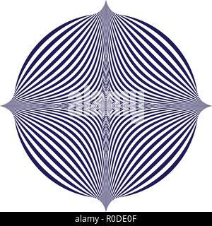 Vector Illustration eines blauen Muster auf weißem Hintergrund entsteht eine optische Täuschung. - Stockfoto