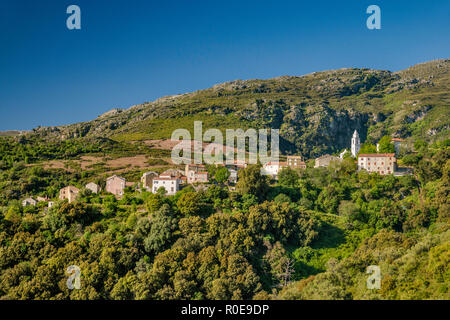 Bergdorf Santo-Pietro-di-Tenda, Nebbio Region, Departement Haute-Corse, Korsika, Frankreich - Stockfoto