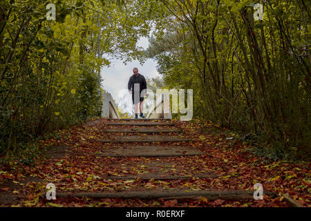 Sankey Valley Park in Warrington, Cheshire, UK. 04. November 2018 - Eine frühe Sonntagmorgen Einlaß des herbstlichen frische Luft bei Sankey Valley Park in Warrington, Cheshire, England, UK Credit: John Hopkins/Alamy leben Nachrichten - Stockfoto