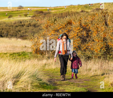 Aberlady Nature Reserve, East Lothian, Schottland, Vereinigtes Königreich, 4. November 2018. UK Wetter: warmen sonnigen Herbsttag auf der Ostküste. Eine Frau geht mit ihren Kindern an der Hand kleine Mädchen und Baby in Rucksack, mit Golfspielern im Hintergrund - Stockfoto