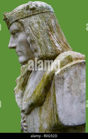 Ein Porträt von König Richard III. von England (von einer Statue in Middleham Castle, Yorkshire). Während seiner Jugend, Richard entwickelte Idiopathische Skoliose, Deformität der Wirbelsäule - Stockfoto