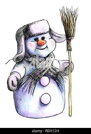 Lila sibirischen Schneemann im Winter Hut und warmer Strickschal stehend auf einem weißen Hintergrund mit einem Besen in der Hand isoliert. in Aquarell gemalt - Stockfoto