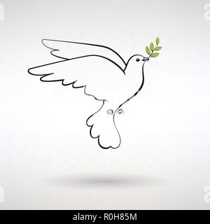 Symbol Taube des Friedens mit Olive Branch - Stockfoto