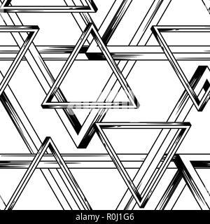Unmöglich, unendlich viele Dreiecke nahtlose Muster. - Stockfoto