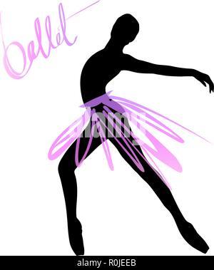 Silhouette eines tanzenden Mädchen. Ballett Tänzerin Mädchen isoliert. Vector Illustration Hand gezeichnet. - Stockfoto