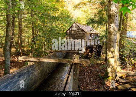 John Kabel Mühle, Cades Abdeckung Historic Area, Smoky Mountains National Park - Stockfoto