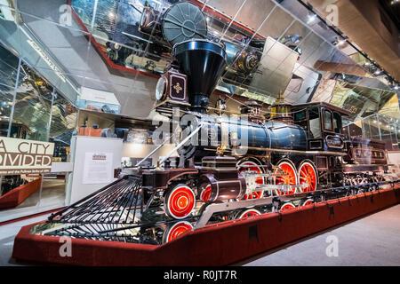 September 22, 2018 in Sacramento/CA/USA - historische Lokomotive an der California State Railroad Museum angezeigt - Stockfoto