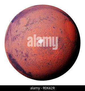 Mars mit South Polar Ice Cap des Roten Planeten, auf weißem Hintergrund - Stockfoto